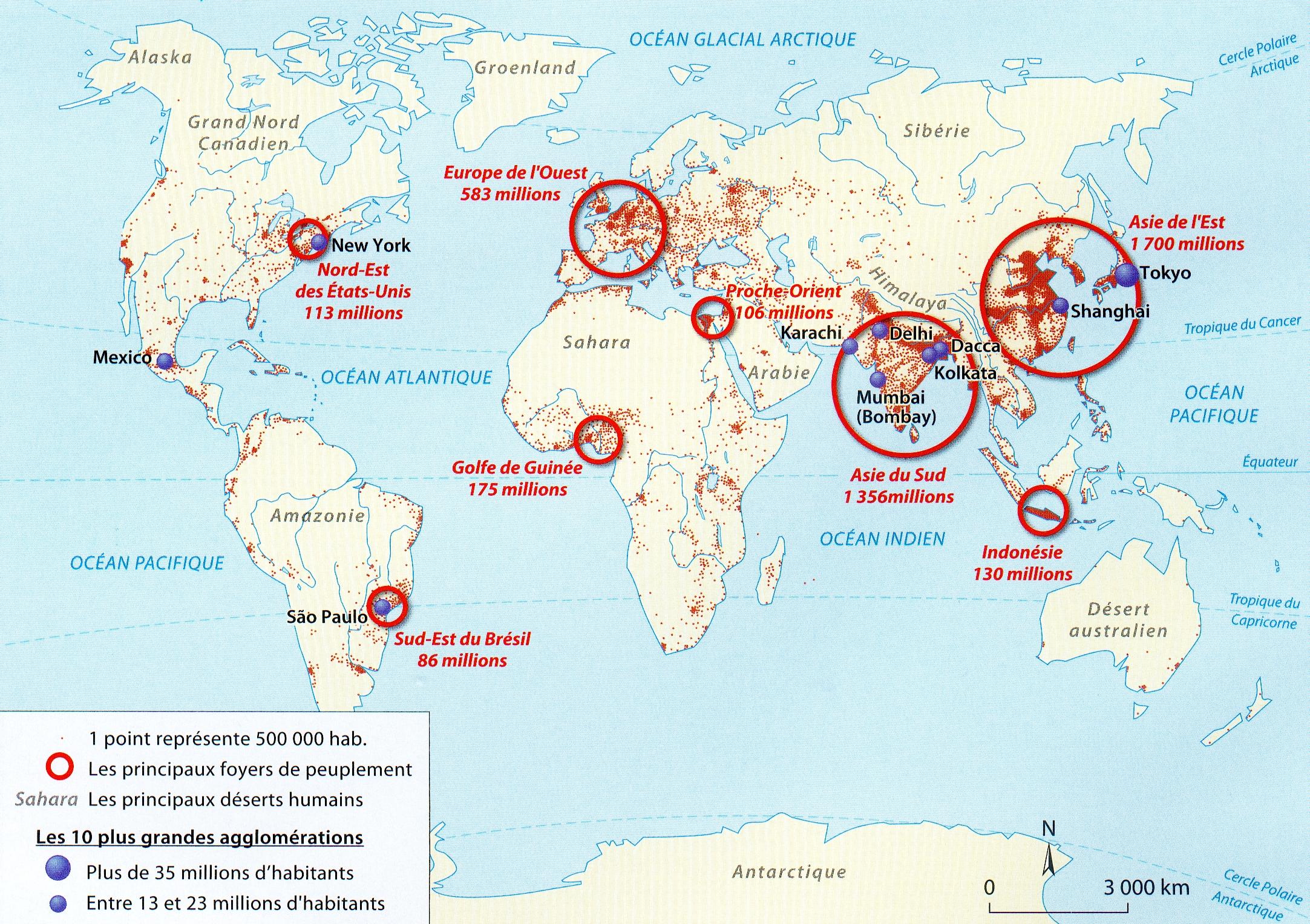 Carte Des Grand Foyer De Peuplement : Carte brevet répartition de la population mondiale en
